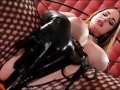 Insatiable Cathy Heaven masturbates in spandex gloves