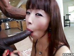 Asian nymph is having interracial hump
