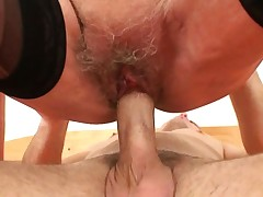 Picked up 60 years old granny rails his young cock