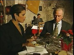 Elegant Italian Mature hotwife husband on restaurant